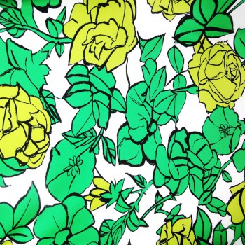 Printed ITY (Green & Yellow Floral Design With White Background)