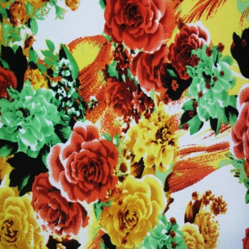Printed ITY (Red Orange, Green & Yellow Floral Print On White Background)