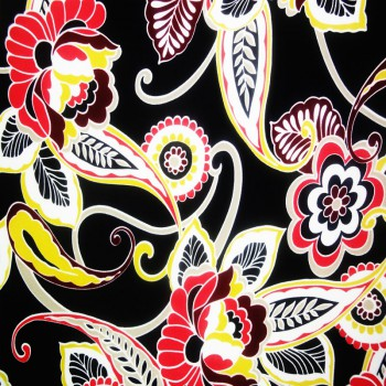 Printed ITY (Red, Burgendy, Yellow & White Flora Print On Black Background)