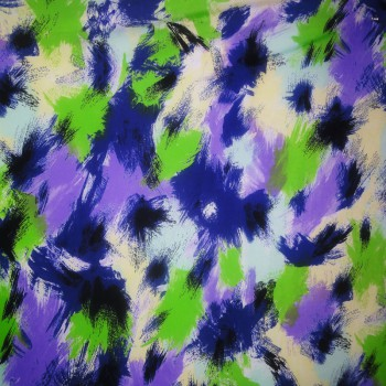 Printed ITY (Blue, Lime Green & Black Painted Print Designs On Floral Background)