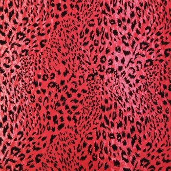Animal Print (Black Leopard Print On Red Background)