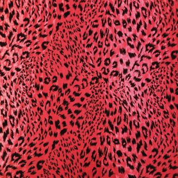 Patterned Hologram ( Black Leopard Print on Red Background