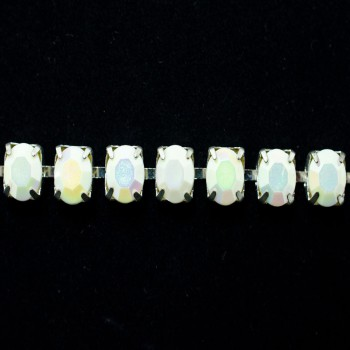 Main Color: White Opal AB/ Silver Setting