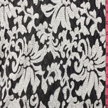 Designer's Sequins Lace (White/White)