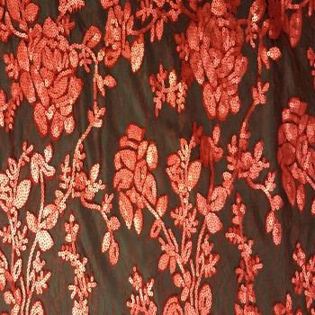 Designer's Sequins Lace (Red)