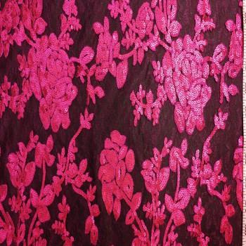Designer's Sequins Lace (Fuchsia)