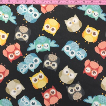 Colorful Owls - Black