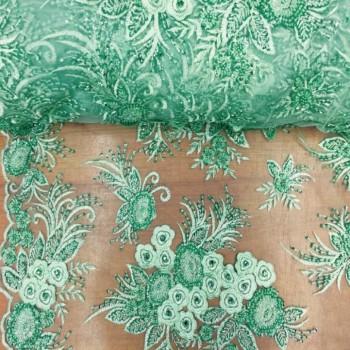 Beaded Lace (Flower w/ Beads - Mint)