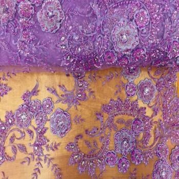 Beaded Lace (Flower Design - Purple)