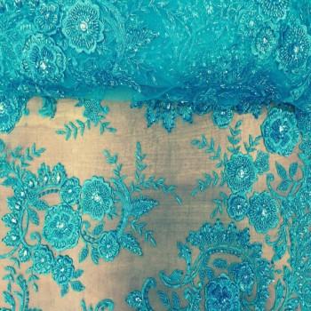 Beaded Lace (Flower Design - Blue)