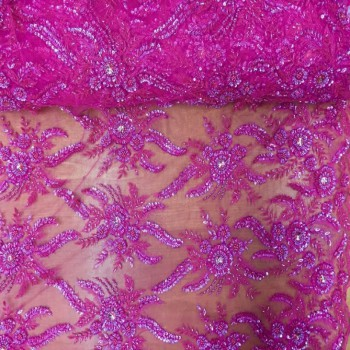 Beaded Lace (Flower Beads - Fuchsia)