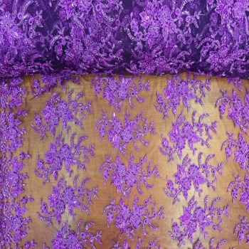 Beaded Lace (Floral Pattern - Purple)