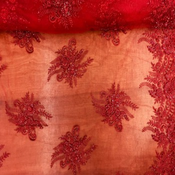 Beaded Lace (Floral - Red)