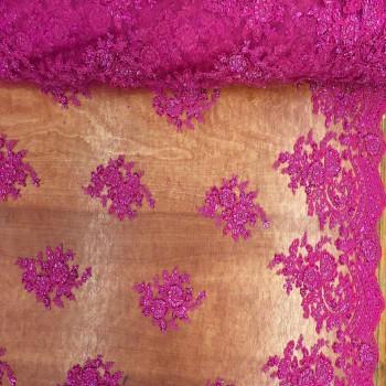 Beaded Lace (Floral - Fuchsia)