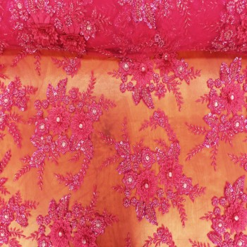 Beaded Lace (Spiked Flowers - Deep Pink)