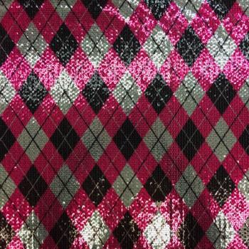 Stretch Sequins (Pink Plaid Design)