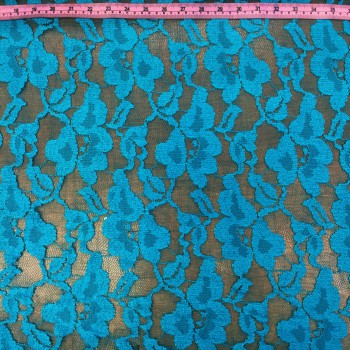 Turquoise Stretch Lace (Flower Pattern)