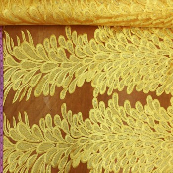 Embroidery Feather Pattern (Yellow)