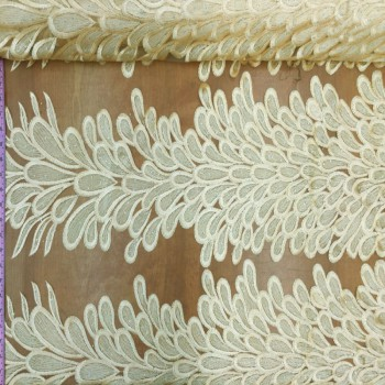 Embroidery Feather Pattern (Light Yellow)