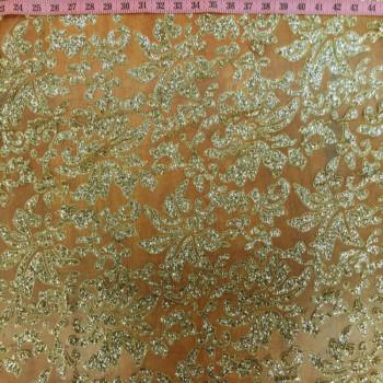 Champagne Rosette Glitter Stone