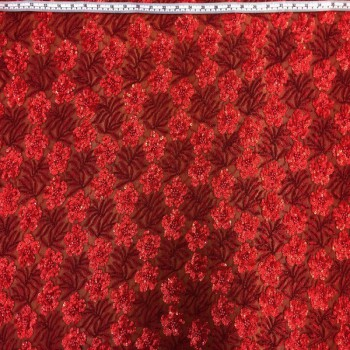 Floral Beaded Sequins (Red)