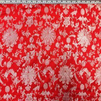 Red Floral Brokate
