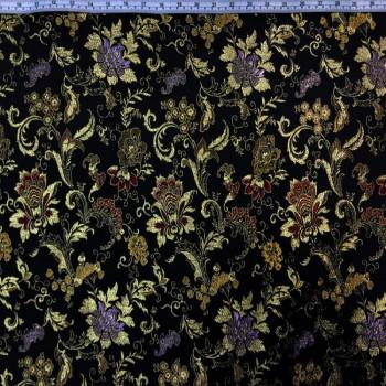 Black Multicolor Floral Brokate