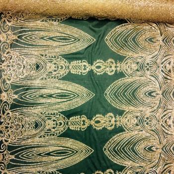 AXA Glitter stone gold on nude mesh