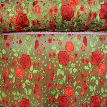 Roses embroidered (Red on nude mesh)