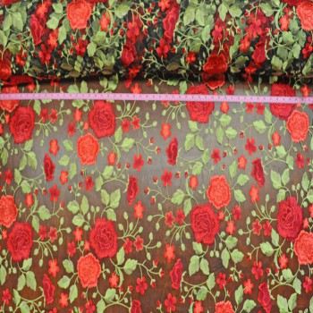 Roses embroidered (Red on black mesh)