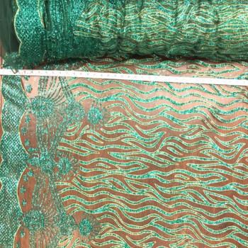 Waves Green glitter stone