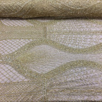 Hand beaded Lace (Gold)