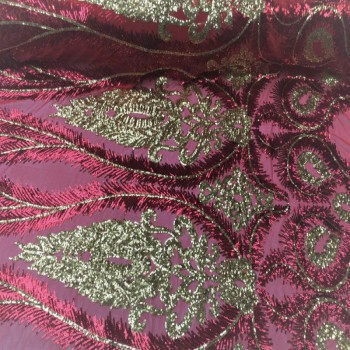 Moonlight Stretch Sequins (Red and Gold)