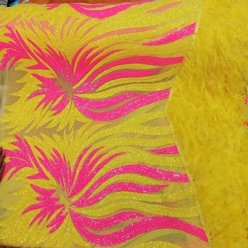 Yaser with Feathers (Fuchsia/Yellow)